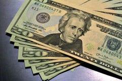 Billetes de dólar de la pila $20 del dinero Imagen de archivo libre de regalías