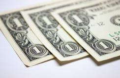 3 billetes de dólar de los E.E.U.U. uno Foto de archivo libre de regalías