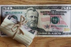 Billetes de dólar del americano cincuenta Foto de archivo libre de regalías