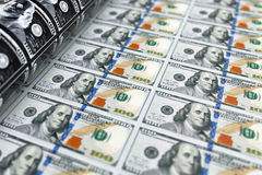 Billetes de dólar del dinero 100 de la impresión representación 3d stock de ilustración