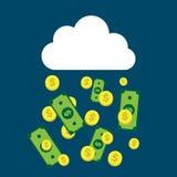 Billetes de dólar que llueven de una nube libre illustration