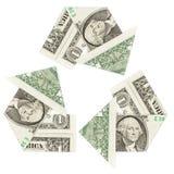 Billetes de dólar uno en un símbolo del reciclaje Imagen de archivo