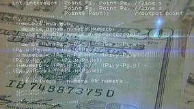 Billetes de dólar y códigos de programa metrajes
