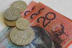 Billetes y monedas australianos del dinero Fotografía de archivo