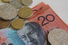 Billetes y monedas del dinero australianos Imagen de archivo libre de regalías