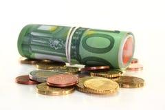 Billetes y monedas euro Imagen de archivo libre de regalías