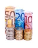 Billetes y monedas euro Imágenes de archivo libres de regalías