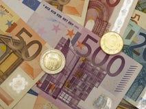 Billetes y monedas euro Foto de archivo libre de regalías