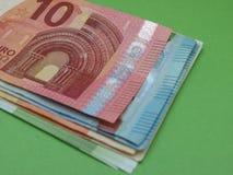 Billetes y monedas euro, unión europea Fotos de archivo libres de regalías
