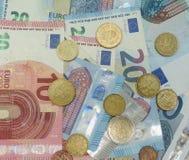 Billetes y monedas euro, unión europea Imagen de archivo