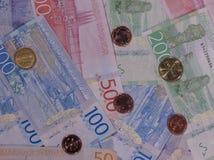 Billetes y monedas, Suecia de corona sueca Foto de archivo