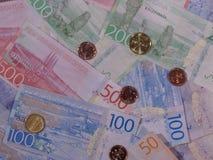 Billetes y monedas, Suecia de corona sueca Imagen de archivo libre de regalías