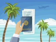 Billetes y pasaportes de avión a disposición, playa del paraíso del verano, concepto tropical de las vacaciones ilustración del vector