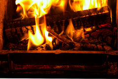 Billets and branches in flames. Stock Photo
