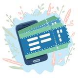 Billets d'achat avec un smartphone Réservation en ligne illustration stock
