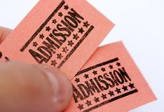 Billets d'admission Images libres de droits