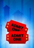 Billets d'admission sur le fond bleu de flèche Photographie stock libre de droits