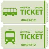 Billets d'autobus et de train Image stock