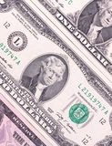 Billets d'un dollar abstraits de fond différent de dénominations Photographie stock libre de droits