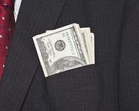 Billets d'un dollar dans la poche de procès Photos stock