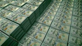 100 billets d'un dollar dans les paquets dans un dépôts en banque illustration de vecteur