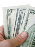 Billets d'un dollar de fixation de main image libre de droits