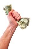 Billets d'un dollar de fixation de poing Image libre de droits