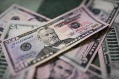 Billets d'un dollar, fond d'argent Dollars d'argent de fin d'ensemble  Photo libre de droits