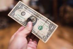 Billets d'un dollar, fond d'argent Dollars d'argent de fin d'ensemble  Photographie stock