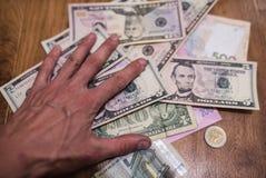 Billets d'un dollar, fond d'argent Dollars d'argent de fin d'ensemble  Image stock