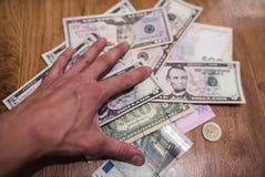 Billets d'un dollar, fond d'argent Dollars d'argent de fin d'ensemble  Photos stock