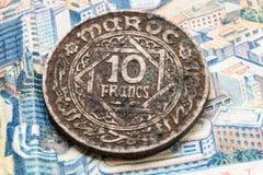Billets de banque antiques du royaume du Maroc Photographie stock libre de droits
