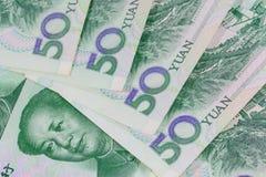 Billets de banque chinois de yuans (renminbi) pour l'argent et le conce d'affaires Photos libres de droits