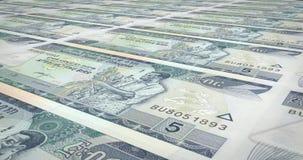 Billets de banque cinq du birr éthiopien du roulement de l'Ethiopie, argent d'argent liquide, boucle illustration de vecteur