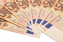Billets de banque d'argent d'Uro Euro 50 Image libre de droits