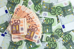 Billets de banque d'euro Images libres de droits