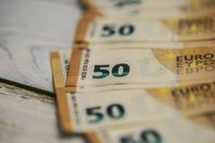 50 billets de banque d'euros Image stock