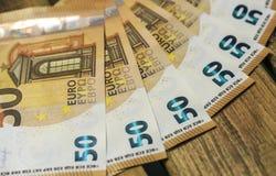 50 billets de banque d'euros Image libre de droits