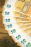 50 billets de banque d'euros Photos libres de droits