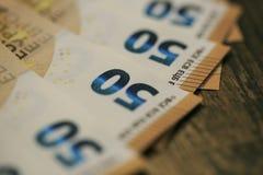 50 billets de banque d'euros Photographie stock