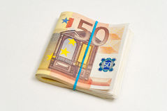 50 billets de banque d'euros Photo stock