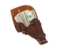 Billets de banque dans l'étui en cuir Image libre de droits