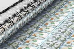 Billets de banque de dollar US d'impression, 3D Photographie stock