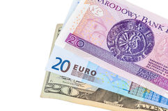 Billets de banque de 20 dollars d'euro et zloty de poli Photos libres de droits