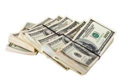 Billets de banque de dollars US. D'isolement sur le blanc Images libres de droits