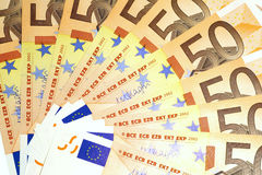Billets de banque de 50 euros Photos stock