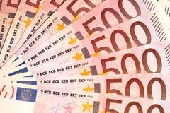 Billets de banque de 500 euros Image libre de droits