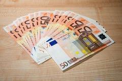 Billets de banque de 50 euros Photos libres de droits