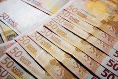Billets de banque de 50 euros Images libres de droits