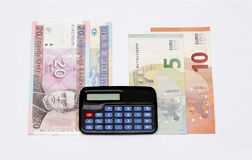 billets de banque 2015 de pièces de monnaie de la Lithuanie d'échange de changement de Lits de litas les euro janvier calculent Photographie stock libre de droits